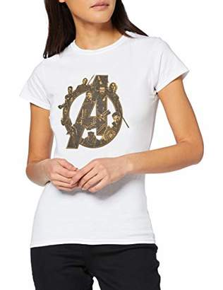 Marvel Women's Infinity War Avengers Logo T-Shirt,8 (Size:S)
