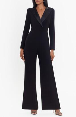 Xscape Evenings Tuxedo Long Sleeve Jumpsuit