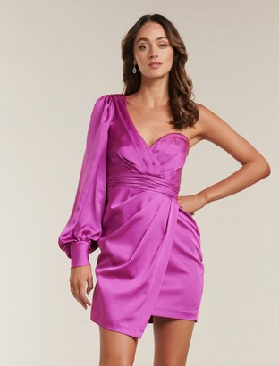 Forever New Monica One-Sleeve Mini Dress - Tourmaline Pink - 10
