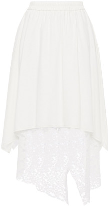 GOEN.J Asymmetric Layered Lace And Cady Midi Skirt
