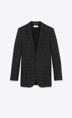 Saint Laurent Blazer Jacket Checkered Cardigan Jacket In Wool Black 34