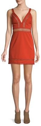 Free People Iris Crochet Trim Mini Dress