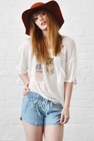 Blue Life Cut Me Out Lace Insert Best Bum Tee in Ivory