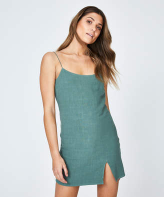 Alice In The Eve Bias Cut Linen Slip Dress Ocean Green