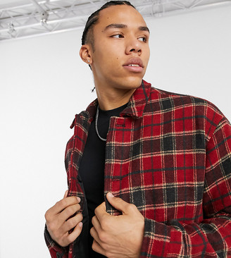 ASOS DESIGN Tall faux-wool shacket in red tartan check