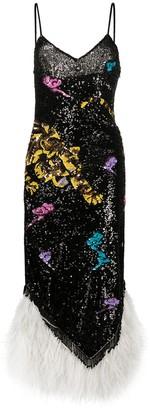 ATTICO Feather Hem Sequinned Dress