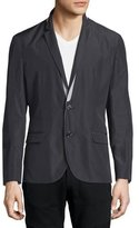 CNC Costume National Notched-Lapel Two-Tone Jacket, Black