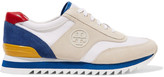 Tory Burch Sawtooth leather-trimmed paneled suede and canvas sneakers