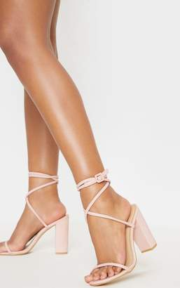 PrettyLittleThing Dusty Pink Tube Strappy Block Heel Sandal