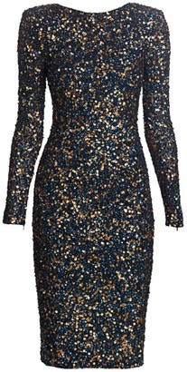 Rachel Gilbert Atlanta Embellished Sequin Cocktail Midi Dress
