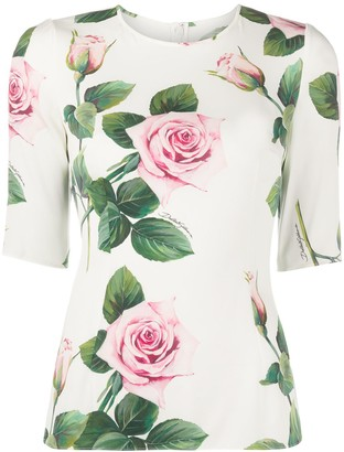 Dolce & Gabbana Tropical Rose print fitted blouse