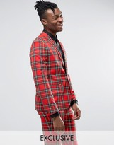 Religion Skinny Suit Jacket in Plaid with Zip Detail