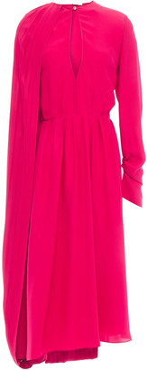 Magda Butrym Vasto Cape-effect Pleated Silk-satin Crepe Midi Dress