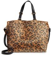 Street Level Leopard Print Faux Calf Hair Tote - Brown