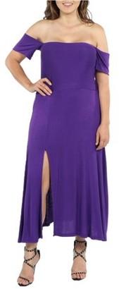 24/7 Comfort Apparel Women's Star Sweep Off Shoulder Dress