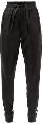 Isabel Marant Duardo Tied-ankle Leather Tapered Trousers - Black