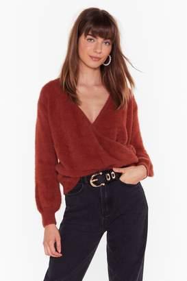 Nasty Gal Womens Wrapped Up V-Neck Knit Jumper - orange - One Size