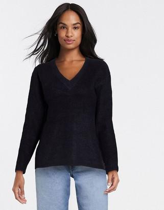Pieces cella v neck knit sweater in black
