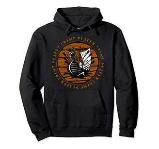 Dragon Optical Viking Raiding Ship Full Sail Wooden Distressed Runes Pullover Hoodie
