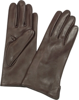 Forzieri Women's Dark Brown Cashmere Lined Italian Leather Gloves