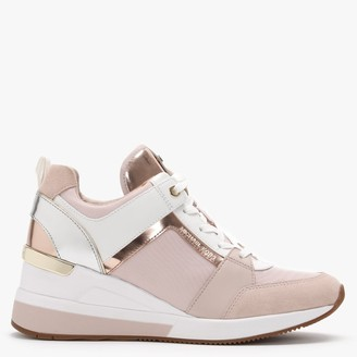 Michael Kors Georgie Soft Pink Mixed-Media Wedge Trainers