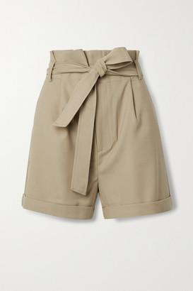 Anine Bing Kinsley Belted Grain De Poudre Shorts - Sand