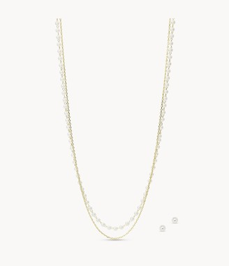 Fossil Faux Pearl Brass Multi-Strand Necklace And Stud Earrings Set