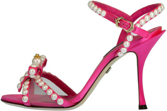 Dolce & Gabbana Pearl and Crystal Embellished Bow Sandals