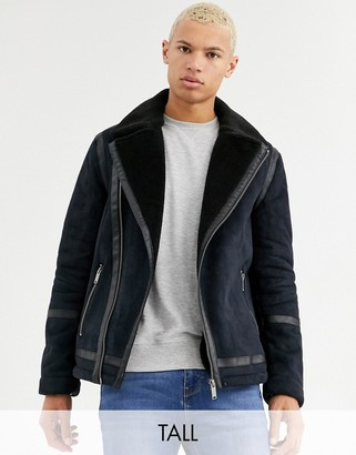 Burton Menswear Big & Tall shearling jacket in dark navy