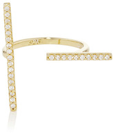 Fallon Gold Plated Cubic Zirconia Pavé T-Bar Ring