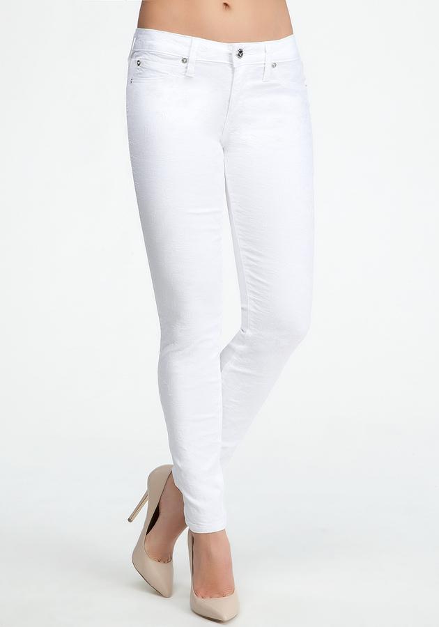 Bebe White Floral Jacquard Icon Skinny Jean