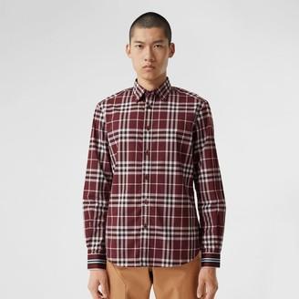Burberry Stripe Cuff Check Cotton Shirt