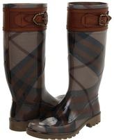 Burberry Buckle Detail Check Rain Boots (Khaki) - Footwear