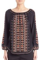 Tory Burch Jessie Silk Embroidered Top