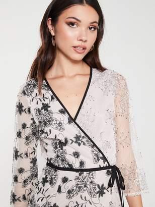 Little Mistress Vintage Lace And Sequin Mini Wrap Dress - Mink