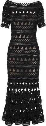 Oscar de la Renta Satin-trimmed Crocheted Midi Dress
