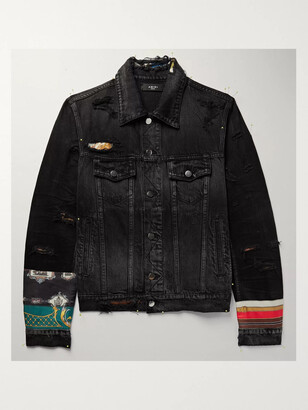 Amiri Patchwork Satin-Trimmed Denim Trucker Jacket