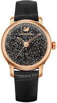 Swarovski Women's Swiss Crystalline Hours Black Leather Strap Watch 38mm