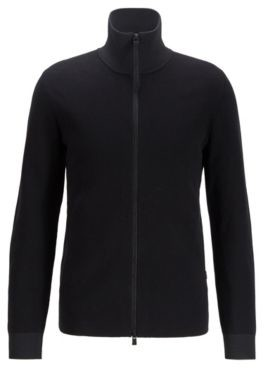 HUGO BOSS Regular Fit Jacket In Mixed Structure Cotton - Black