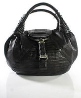 Fendi Dark Brown Leather Woven Handle Spy Hobo Handbag
