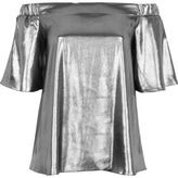 River Island Womens Silver metallic bardot top