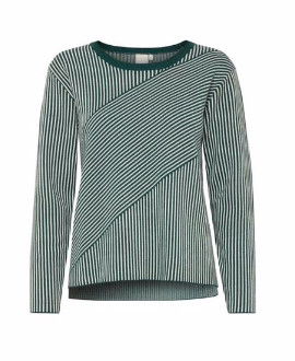 Ichi Windsor Forest Long Sleeve Top - L - Green/White