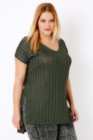 Yours Clothing Khaki Ribbed Slinky V-Neck Top With Dipped Hem & Side Splits