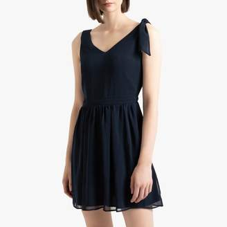 Naf Naf Short V-Neck Dress with Tie Shoulder