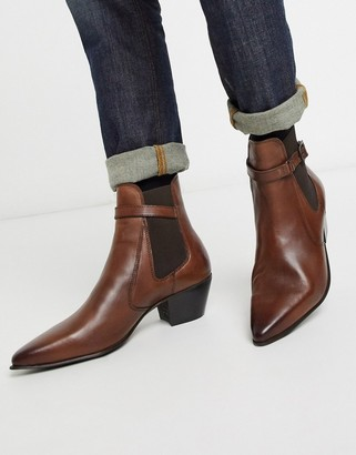 Asos DESIGN cuban heel western chelsea boots in brown leather with strap