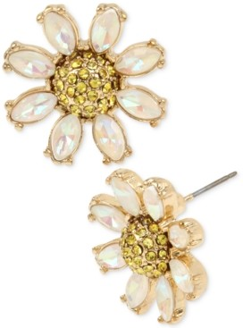 Betsey Johnson Gold-Tone Crystal Daisy Stud Earrings