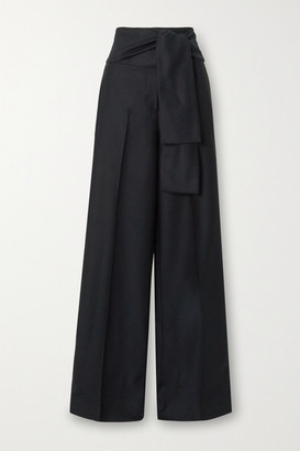 Victoria Victoria Beckham Belted Pleated Wool-twill Wide-leg Pants - Midnight blue