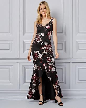Le Château Floral Print Foil Knit V-Neck Gown