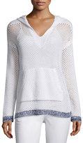 Rag & Bone Thea Mesh Hooded Sweatshirt, White
