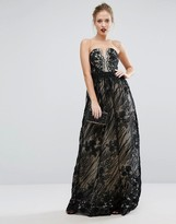 Little Mistress Contrasting Lace Maxi Dress